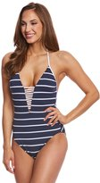 Seafolly Castaway Stripe Deep V One Piece Swimsuit 8158448