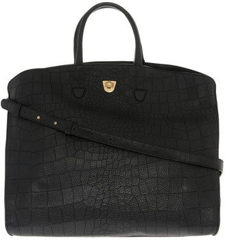 Coccinelle Angie Croco Soft Double Handle Black Tote Bag
