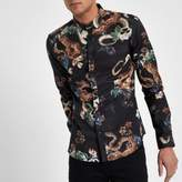 River Island Mens Black snake floral print slim fit shirt