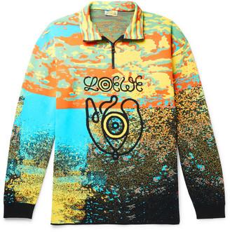 Loewe Eye nature Intarsia Wool-Blend Half-Zip Sweater