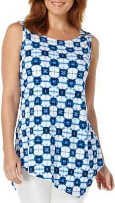 Rafaella Women's Missy Tie Dye Geometry Print Asymmetrical Top
