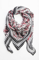 J. Jill Flowers & Stripes Square Scarf