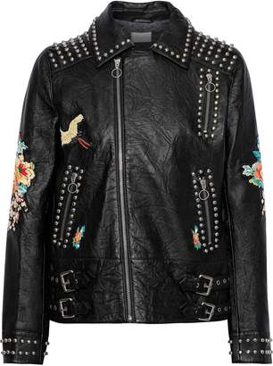 Camilla Midnight Moonchild Embellished Crinkled-leather Biker Jacket