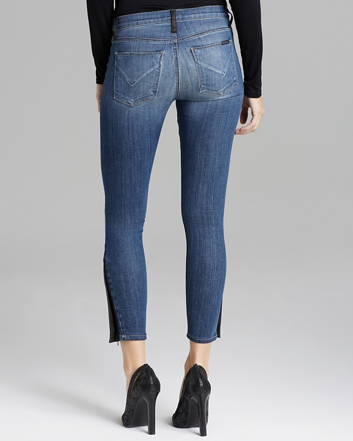Hudson Jeans Krista Crop Super Skinny with Leather in Super Vixen