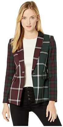 Vince Camuto Bold Plaid Notch Collar Color Block Blazer (Port) Women's Jacket