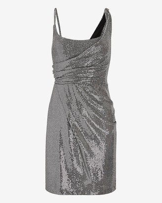 Express Sequin Asymmetrical Draped Sheath Dress
