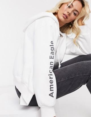American Eagle logo hoodie in white