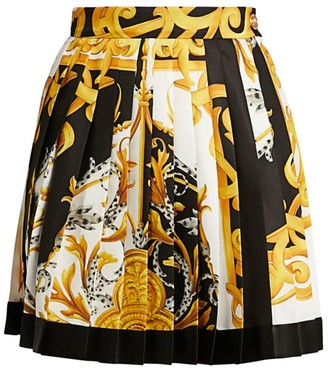 Versace Barocco Acanthus Pleated Mini Skirt