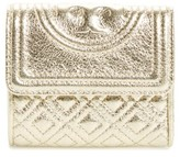 Tory Burch Women's Mini Fleming Metallic Leather Wallet - Yellow