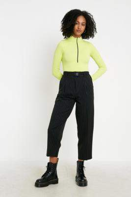Urban Outfitters Pinstripe Buckled Cocoon Trousers - black XS at