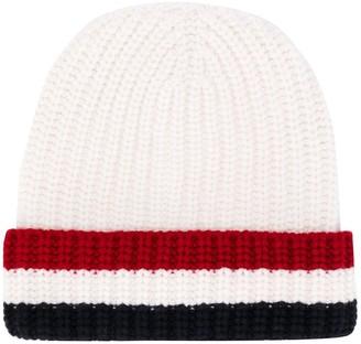 Thom Browne tricolour-stripe knitted beanie hat