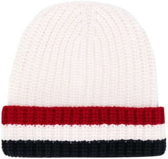 Thom Browne Tricolour-Stripe Knitted Beanie Hat