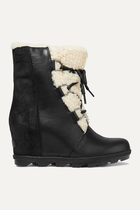 Sorel Joan Of Arctic Wedge Ii Shearling-trimmed Waterproof Leather And Suede Ankle Boots - Black