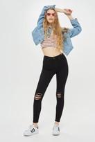 Topshop Black Ripped Jamie Jeans