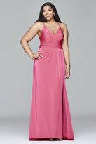Faviana 9414 Faile satin v-neck evening dress with draped front