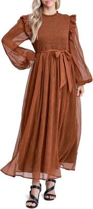 Smock Detail Long Sleeve Chiffon Dress