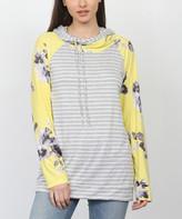 Egs By Eloges egs by eloges Women's Tunics GREY - Gray & Yellow Floral & Stripe Raglan Hoodie - Women & Plus