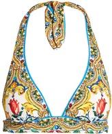 Dolce & Gabbana Majolica-print halterneck bikini top