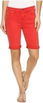 Liverpool Hayden Rolled-Cuff Bermuda in Pigment Dyed Slub Stretch Twill in Ribbon Red Women's Shorts
