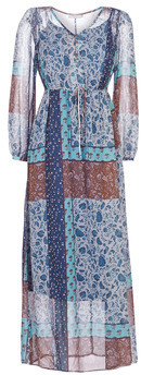 Cream SAMA women's Long Dress in Blue