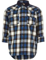 River Island Boys blue check western shirt