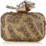 Jimmy Choo CLOUD Gold Embroidered Clutch Bag with Crystal Knot Clasp