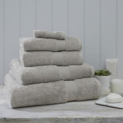 The White Company Luxury Egyptian Cotton Towel, Pearl Grey, Bath Towel