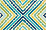 """2'3""""x3'9"""" Lennon Outdoor Rug, Blue/Gree"""