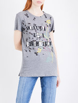Valentino Text-print embroidered cotton-jersey T-shirt