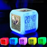 Alarm Clock 7 LED Color Changing Wake Up Bedroom with Data and Temperature Display (Changable Color) Customize the pattern-158.Dogs, Puppy, Pet, Adorable, Doggy, Small, Terrier