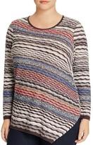 NIC and ZOE Plus Crosswise Asymmetric Stripe Sweater