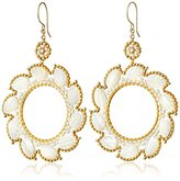 Miguel Ases Mother-Of-Pearl and Swarovski Leaf Circulating Hoop Earrings