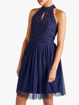 Yumi Curves Yumi Lace Halter Neck Party Dress, Navy