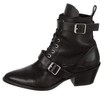 AllSaints Pointed-Toe Lace-Tie Ankle Boots