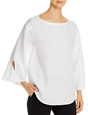Eileen Fisher Organic Linen Boat Neck Blouse - 100% Exclusive