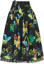 Marc Jacobs Embellished Printed Cotton-blend Poplin Midi Skirt - US8