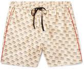 Gucci Slim-Fit Piped Logo-Print Silk-Twill Shorts