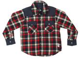 Something Strong Red & Black Plaid Denim-Trim Button-Up - Boys