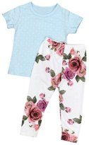 Morecome Baby Girl Floral T Shirt Pants Headband Outfits Set (12M, )