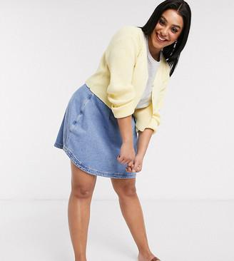ASOS DESIGN Curve blue denim structured a-line skirt