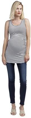 Nom Maternity Joey Maternity Tank (Black/White Stripe) Women's Clothing
