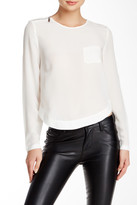 L.A.M.B. Silk Long Sleeve Cropped Blouse