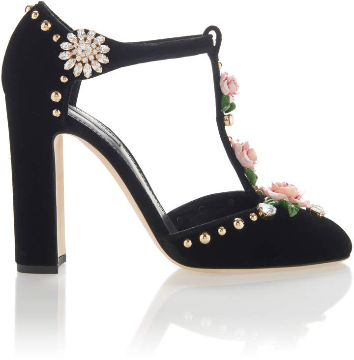 Dolce & Gabbana Embroidered Velvet Pumps