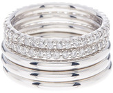 Roberto Coin 18K White Gold Plated Sterling Silver & Diamond Ring Set - Size 6.5
