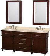 WYNDHAM COLLECTION Berkeley 72 inch Double Bathroom Vanity; Ivory Marble Countertop; Undermount Round Sinks; 24 inch Medicine Cabinets
