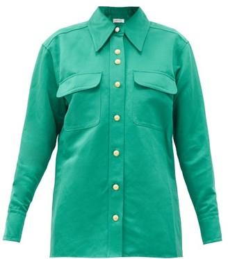 Wales Bonner Capleton Patch-pocket Linen-blend Poplin Shirt - Green