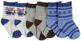 "Luvable Friends Baby Boys' ""Raccoon"" 3-Pack Crew Socks"