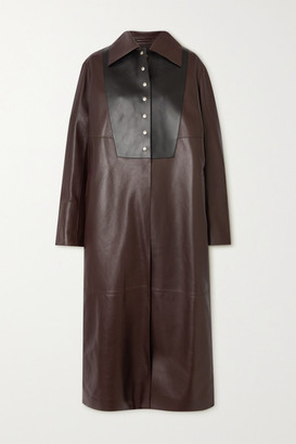 Loewe Two-tone Leather Coat - Brown