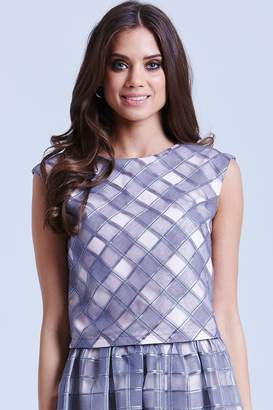 Little Mistress Grey and Pink Organza Gingham Top