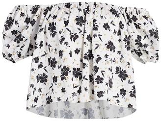 ML Monique Lhuillier Floral Crop Blouse